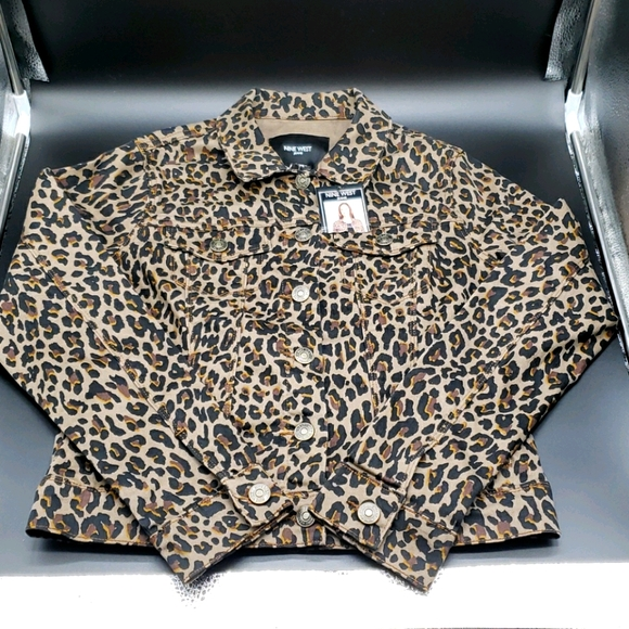 NWT Nine West Leopard Print Jean Jacket